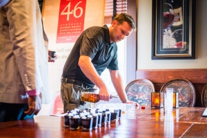 Mr. Ryan Miles pours Maker's Mark 46 samples for the MM Ambassadors